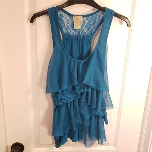 Ruffled Tank Top Cami Blue Lace Eyelash Couture